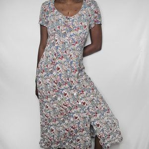 All That Jazz Vintage Floral Print Button-up Dress